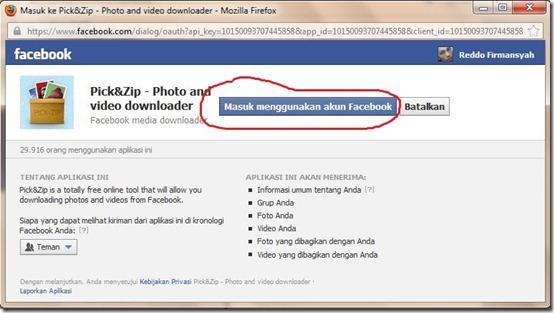 masuk menggunakan akun facebook